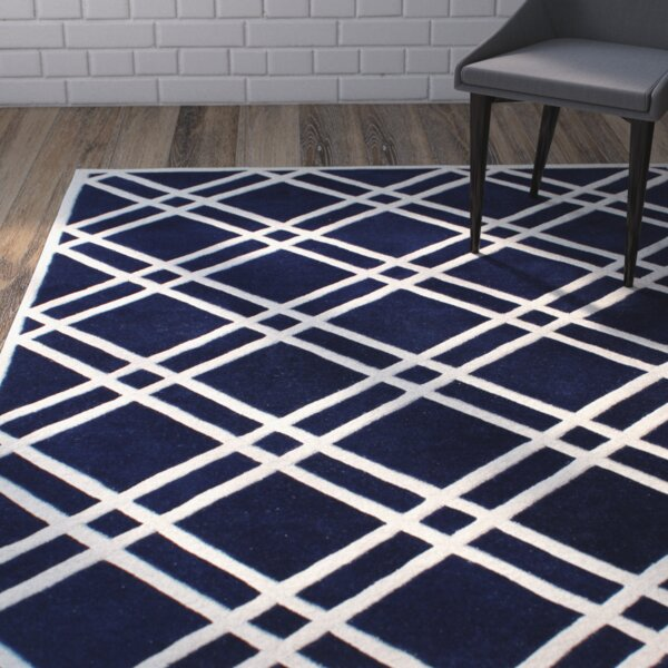 Wilkin Hand-Tufted Wool Dark Blue/Ivory Area Rug by Wrought Studio