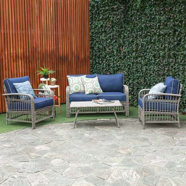 Rona 4 Piece Rattan Sofa Seating Group with Cushions by Breakwater Bay
