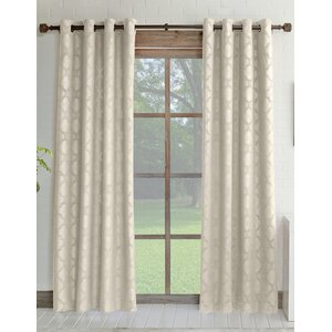Estate Geometric Room Darkening Grommet Single Curtain Panel