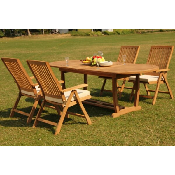 Scotia 5 Piece Teak Dining Set by Rosecliff Heights