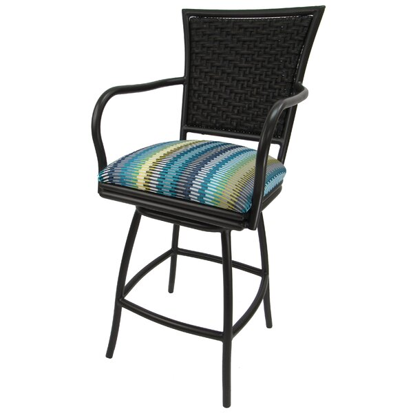 Cutlip Outdoor Stripe 26-inch Patio Bar Stool with Cushion by Charlton Home Charlton Home