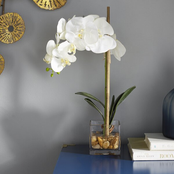 Faux White Phalaenopsis Orchid in Acrylic Glass by Mercury Row