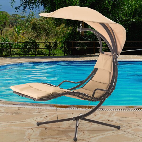 Corona Polyester Hanging Chaise Lounger with Stand by Sunjoy