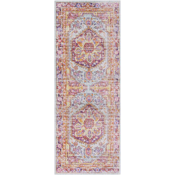 Kahina Vintage Distressed Oriental Rectangle Pink/Orange Area Rug by Bungalow Rose
