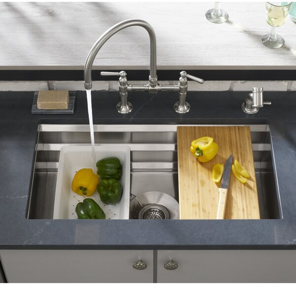 Prolific 29-in x 17-3/4-in x 10-in Under-Mount Single-Bowl Kitchen Sink with Accessories by Kohler