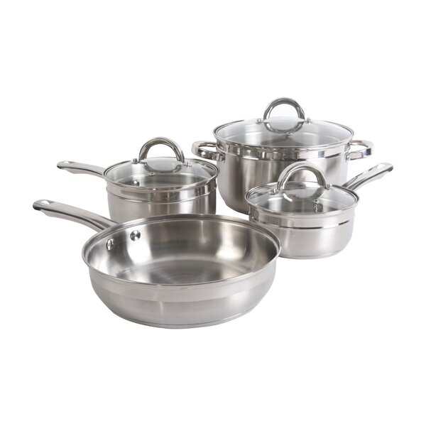 Glynn 7 Piece Stainless Steel Cookware Set by Gibson