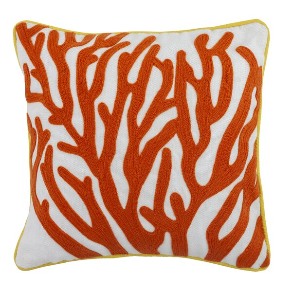 Litteral Embroidered Coral Outdoor Throw Pillow