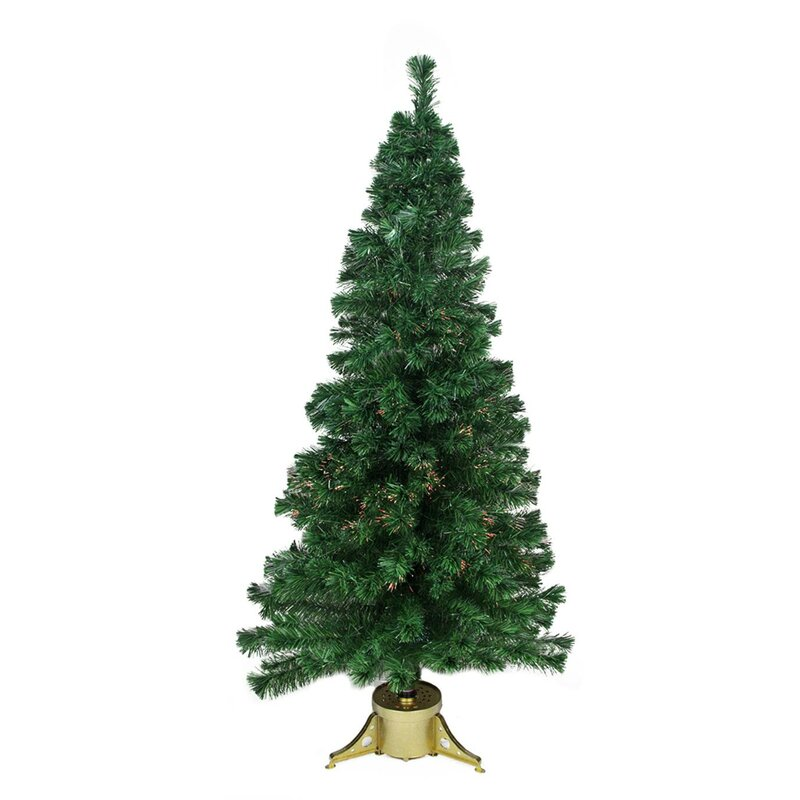 Pre-Lit Color Changing Fiber Optic Green Artificial Christmas Tree - The Holiday Aisle Pre-Lit Color Changing Fiber Optic Green