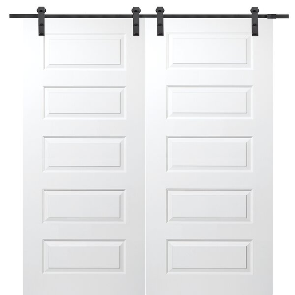 Molded Primed Rockport 5 Panel Interior Barn Door by Verona Home Design