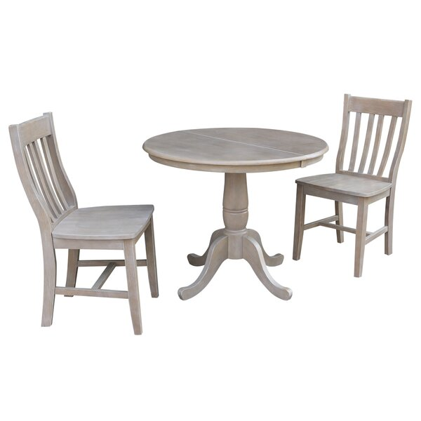 Petra Extendable Pedestal 3 Piece Solid Wood Bistro Set by August Grove