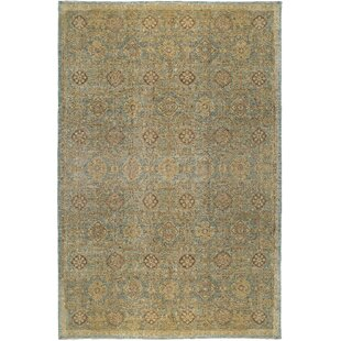 One-of-a-Kind Ziegler 2000 Maze Hand-Knotted Wool Gold/Light Blue Area Rug by Bokara Rug Co., Inc.