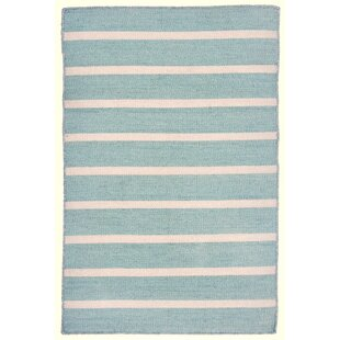 Ranier Pinstripe Hand Woven Blue Indoor/Outdoor Area Rug By Beachcrest Home