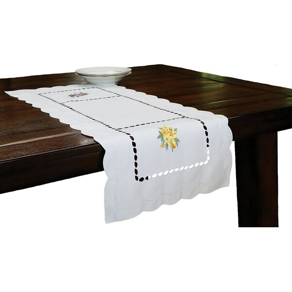 Bouquet Embroidered Cutwork Table Runner by Xia Home Fashions