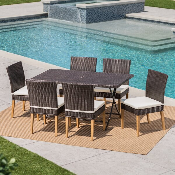 Bickel Outdoor Wicker 7 Piece Dining Set with Cushions by Ivy Bronx