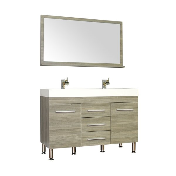 Waldwick 48 Double Modern Bathroom Vanity Set with Mirror by Wade Logan