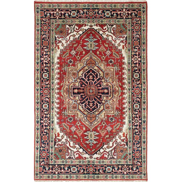 One-of-a-Kind Doerr Handmade Wool Navy Blue/Red Oriental Area Rug by Isabelline