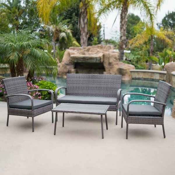 Reed 4 Piece Rattan Conversation Set with Cushions