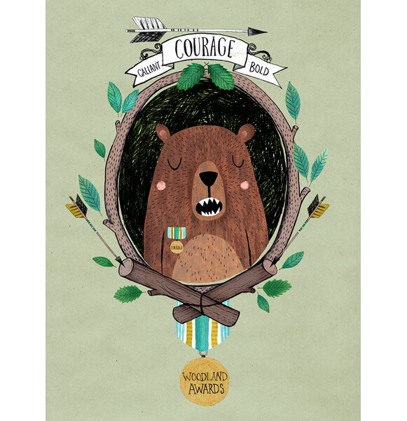Woodland Awards Courageous Bear Canvas Art by Oopsy Daisy