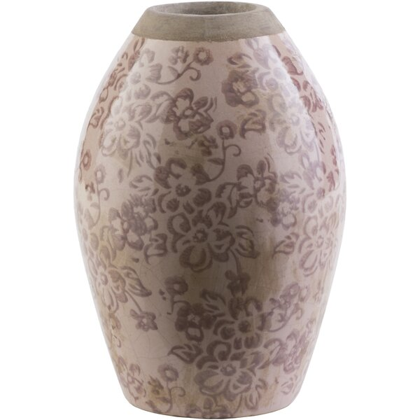 Evry Cylinder Taupe Ceramic Table Vase by Lark Manor