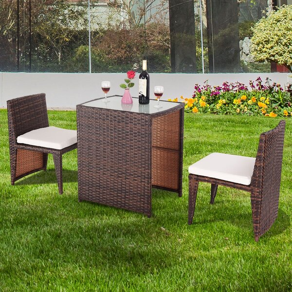 Breakthrough Outdoor 3 Piece Bistro Set with Cushions by Latitude Run