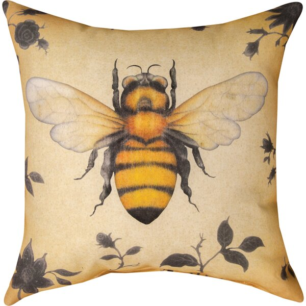 Insects Bee Knife Edge Throw Pillow by Manual Woodworkers & Weavers