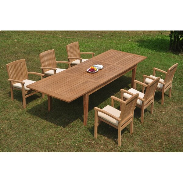 Portola 7 Piece Teak Dining Set by Rosecliff Heights