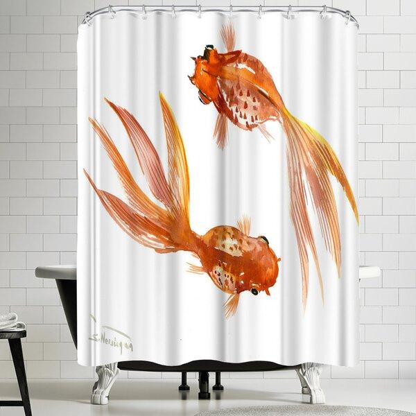 Suren Nersisyan Feng Shui Goldfish Koi 3 Shower Curtain by East Urban Home