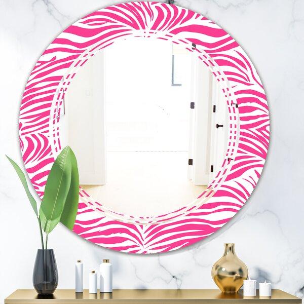 Glamour Zebra Animal Pattern Triple C Glam Frameless Wall Mirror