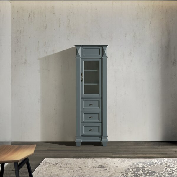 Lusk 22 W x 65 H x 13.5 D Solid Wood Free-Standing Linen Cabinet
