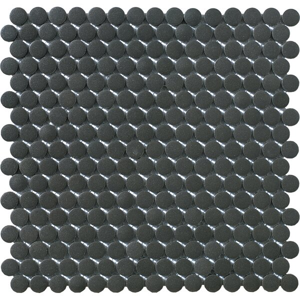 Urban 1 x 1 Porcelain Mosaic Tile in Black Penny Round by Walkon Tile