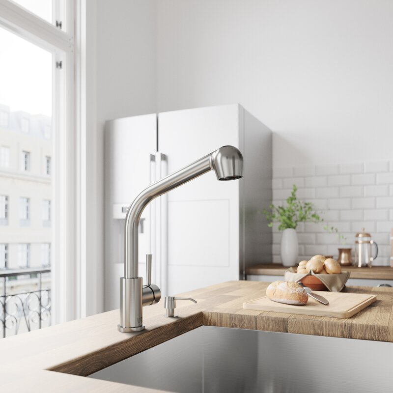 VIGO Avondale Pull Out Single Handle Kitchen Faucet with Optional ...