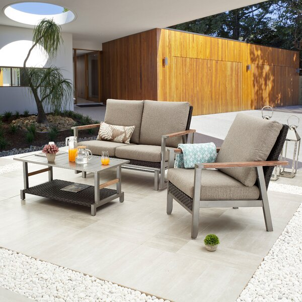 Serdar Outdoor 3 Piece Sofa Seating Group with Cushions by Latitude Run