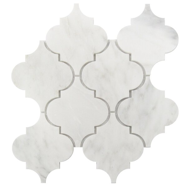 Arabesque 5 x 6 Marble Mosaic Tile in Oriental White by Luxsurface