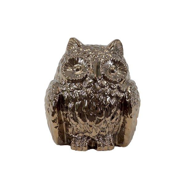 Ceramic Owl Decor Metallic Gold by Urban Trends
