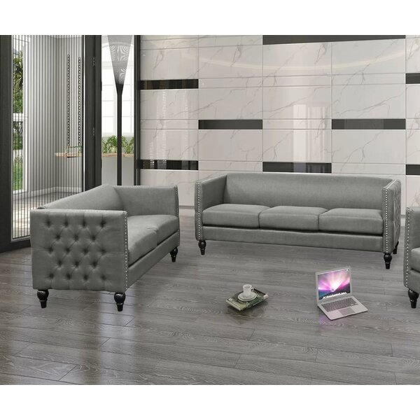 Armstead Tufted Contemporary Nailhead Blue 2 Piece Living Room Set by Canora Grey