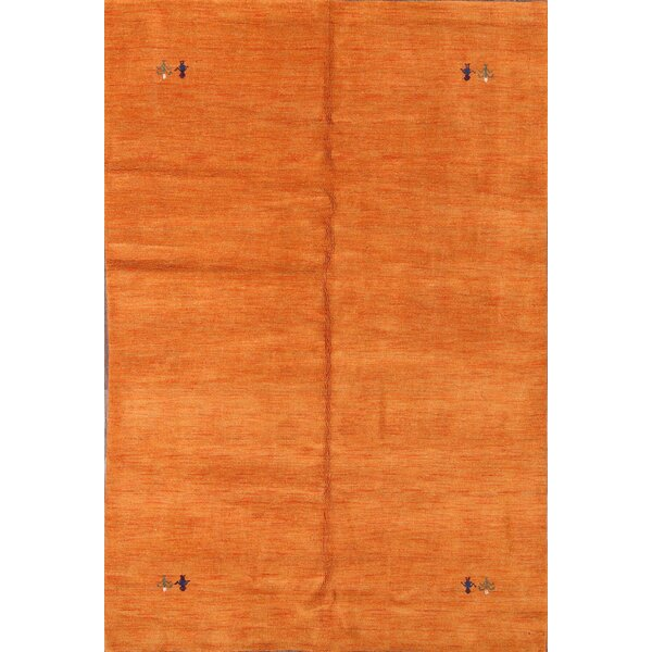 Perrotta Gabbeh Oriental Hand-Knotted Wool Orange/Blue Area Rug by Bloomsbury Market