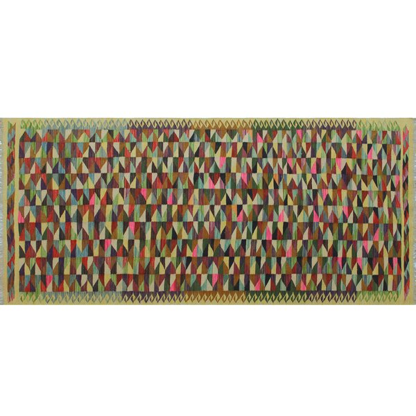 Runner Nazarene Geometric Handmade Kilim Wool Ivory Area Rug