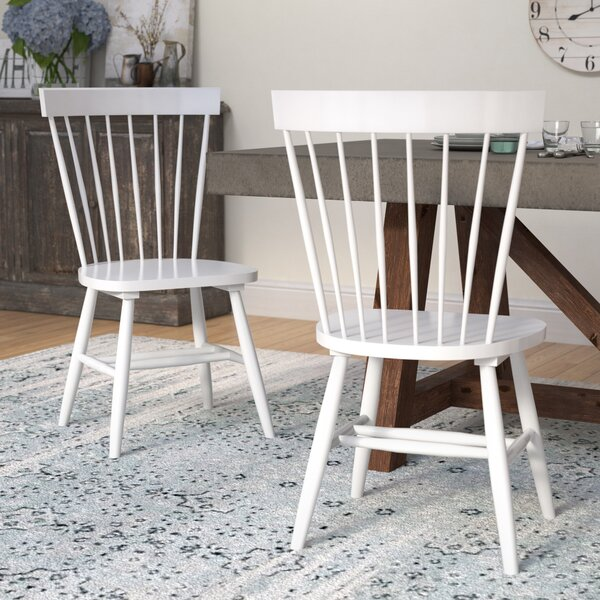 Spindle Solid Wood Windsor Back Side Chair (Set Of 2) By Three Posts