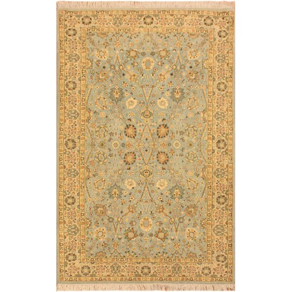 One-of-a-Kind Abagail Turkish Hand-Knotted Wool Blue/Ivory Area Rug by Isabelline