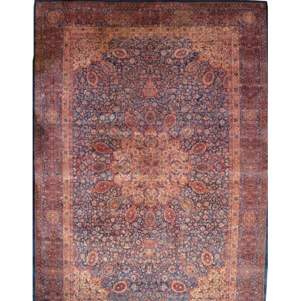 Indo Tabriz Manchester Wool Hand-Knotted Navy Area Rug