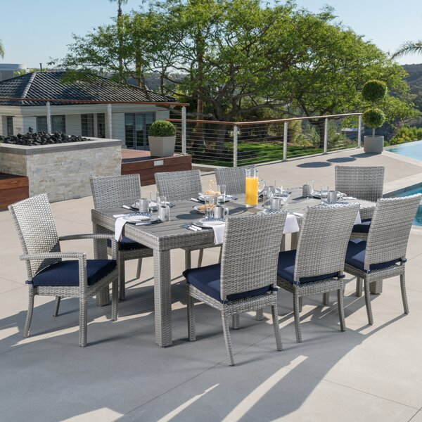 Castelli 9 Piece Sunbrella Dining Set with Cushions by Wade Logan