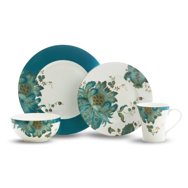 Eliza Teal 16 Piece Dinnerware Set, Service for 4