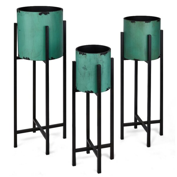 Catchy 3-Piece Metal Pot Planter Set by Benzara