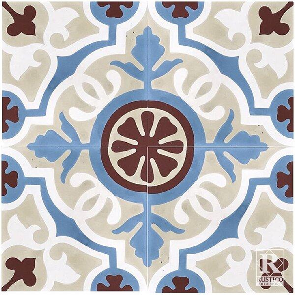 Amalia Concrete 8 x 8 Cement Field Tile in Beige/Blue (Set of 4) by Rustico Tile & Stone