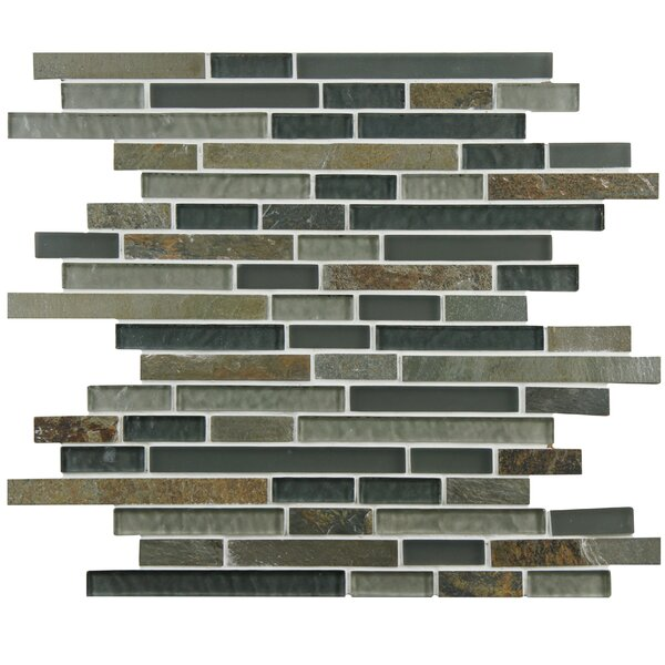 Sierra Random Sized Glass and Natural Stone Mosaic Tile in Green/Brown by EliteTile