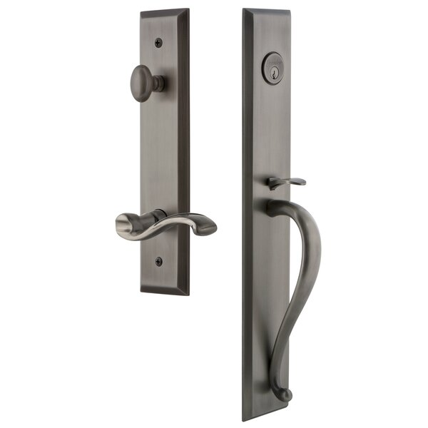 Fifth Avenue S Grip Single Cylinder Handleset with Portofino Interior Lever by Grandeur