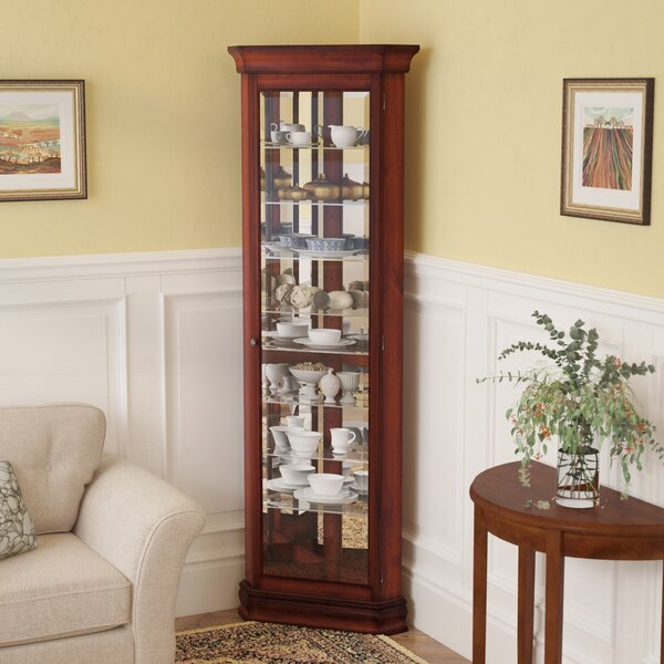 Hollingdon Lighted Corner Curio Cabinet by Three Posts