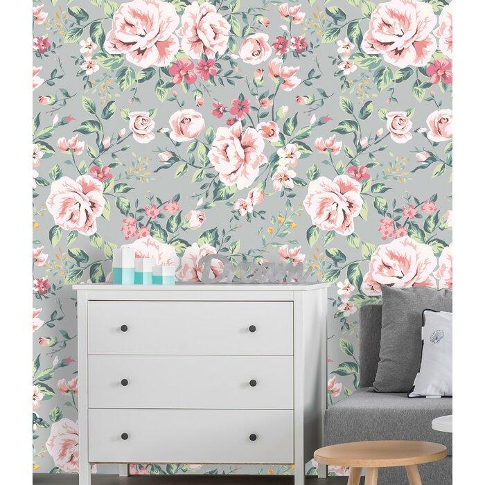 Removable Wallpaper Self Adhesive Wallpaper Pink Vintage Nursery Floral On Grey Background Peel Stick Wallpaper Nursery Wallpaper