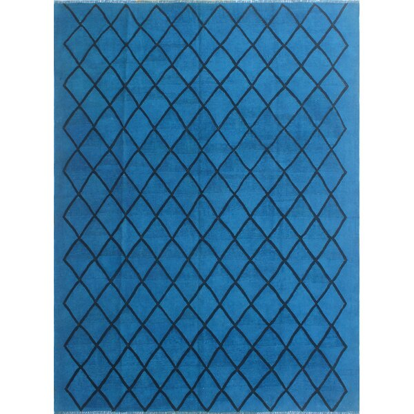 Alaina Hand-Knotted Wool Blue/Black Area Rug by Wrought Studio