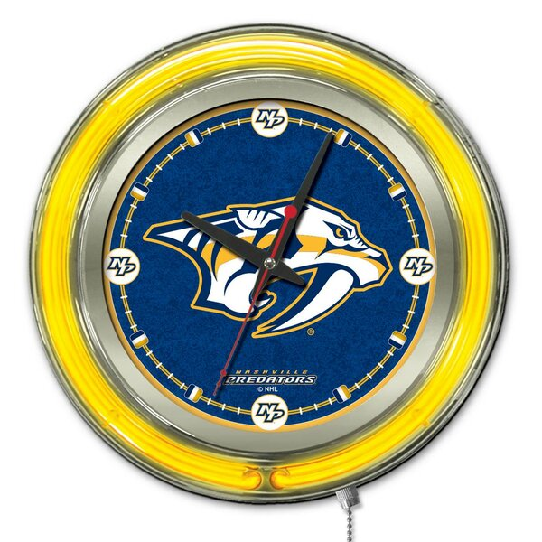 NHL 15 Double Neon Ring Logo Wall Clock by Holland Bar Stool